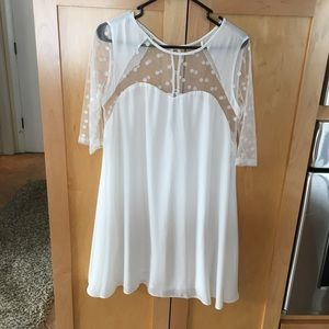 Brand New White with sheer dress size large